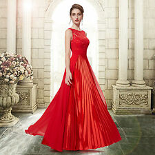 """MEAKA"" STUNNING LADIES SIZE 8 RED FRENCH LACE SATIN EVENING GOWN DRESS BALL"