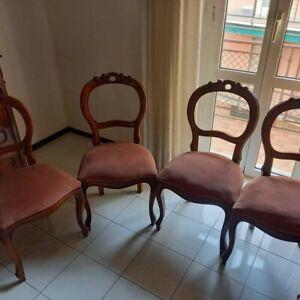 Set Antiche Sedie 4 Pezzi Stile Luigi Filippo Anni 50 legno e tessuto