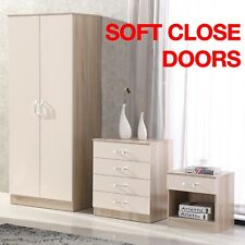 Cream/Oak High Gloss 3 Piece Bedroom Furniture Set - Wardrobe Chest Bedside