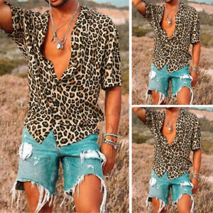 US STOCK Men Short Sleeve Leopard Printed Shirts Party Club Fancy Dress Tops Tee