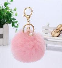 New Handbag Charm Key Ring Rabbit Fur Ball PomPom Cell Phone Car Keychain Pink