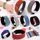 Leather Wrap Wristband Cuff Crystal Rhinestone Magnetic Buckle Bracelet Bangle