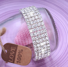 5x Row Sparkly Full Crystal Bride Wedding Fashion Bracelet For Womens Ladies