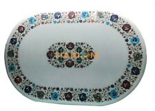 3'x2' Oval Marble Side Dining Table Top Multi Stone Floral Inlay Home Decor W107