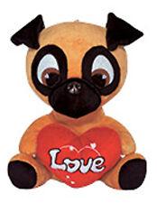 NEW Stuffed Plush Toy PUG Soft Animal  LOVE PUPPY DOG DOLL BROWN Valentine's Day