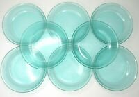 "8 Arcoroc France Jardiniere Aqua Teal Blue Green 7 1/4"" Soup Salad Cereal Bowls"
