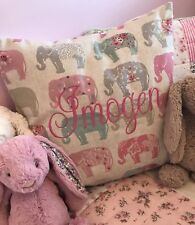 PERSONALISED Embroidered Fryetts Elephant Cushion Cover Girl Gift