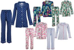 Womens Ladies Pyjama set Button Up Cotton Pyjama Suit Pjs Soft Nightwear