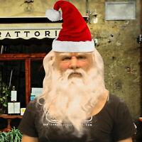 Funny Santa Claus Full Latex Mask Wig Beard Christmas Holiday Soft Santa Mask UK