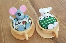 2 Primitive Folk Art Christmas Ornaments Mouse and Bear in Tea Cups Wooden