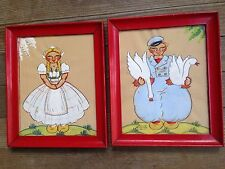 Yvonne Kehew Whimsical Swedish Folk Paintings Boy Girl Red Wood Frames 1930's