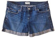 Aeropostale Girls Destructed Denim Midi Shorts Cuffed Dark Wash Size 9/10