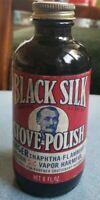 Black Silk Stove Polish for Cast Iron Vtg Bottle 1910-1930 Great Graphics Poison