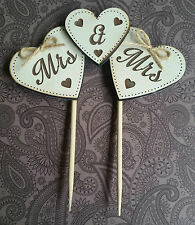 "Wooden engraved ""Mrs & Mrs"" ""Mr&Mr"" heart cake topper wedding civil ceremony"