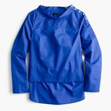 J Crew Funnel Neck Shirt Top Blouse Sz 2 Sapphire Blue 100% Cotton Hi-Lo Hem