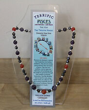"PISCES Hand-made 18"" Astrological- Gemstone Necklace Plus FREE book and BOOKMARK"