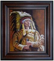 Framed Pirtrait of a Native American, Quality Hand Painted Oil Painting 20x24in
