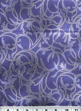 Fabric #2232, Blue Vines and Leaves, Gold Metallic, EBI, Sold by 1/2 Yard