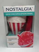 Nostalgia Snow Cone Cups Amp Spoon Straws 20 Count