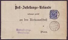 ZUSTELLUNGSURKUNDE Rücksendung im Ort frei! Mi.-Nr. 48 EF PLÖN 1894 (10190)