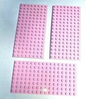 LEGO 3X Bright Pink Baseplate Base Plate 8x16 Brick Building Part Pieces Lot