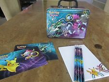 Pokemon Lunchbox Tin with Pokemon Notepad, Pencils, Stickers and Coin