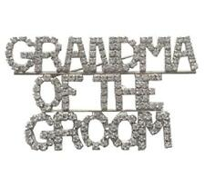 "Clear Rhinestone ""GRANDMA OF THE GROOM"" Brooch Pin"