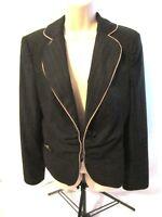 White House Black Market WHBM Women Jacket Blazer Lined Black Pinstriped Size 10