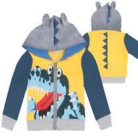 Kids Boys Cotton Cartoon Dinosaur Hoodie Sweatshirt Zip Up Jumper Sweater Coat