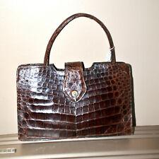 Sac à main VINTAGE en Crocodile véritable - couleur marron - années 1960-70