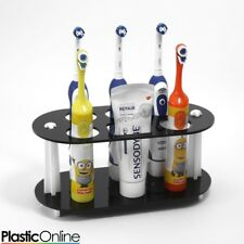 Electric Toothbrush Holder Toothpaste Holder 5x Toothbrush Stand Black & White