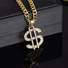 Hip Hop Jewelry Gold Color Iced Dollar Sign Cash Money Bling Pendant Necklace