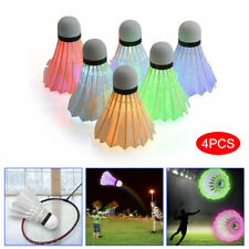 4Pcs LED Badminton Shuttlecocks Feather Glowing Badminton Ball Outdoor Sports AU