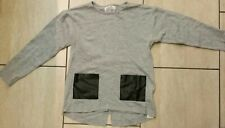 Zara Girls Knitwear Age 9-10 Years Light Grey Jumper Black Leather Pockets