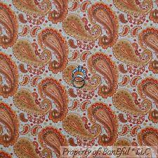 BonEful Fabric FQ Cotton Quilt Cream Brown Orange Fall Flower Paisley Dot Calico