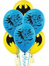 "BATMAN PARTY SUPPLIES 6 LATEX BALLOONS 12"" HELIUM QUALITY"