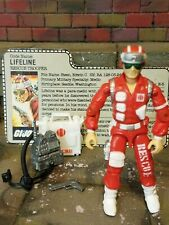 GI JOE ~ 1986 LIFELINE ~ UNCRACKED ELBOWS ~ RESCUE TROOPER MEDIC  ~ 100% & card