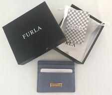 NIB Furla Classic Creadit Card Case Holder Leather Saffiano Dolomia Blue New NWT