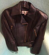 Vintage Black Leather Motorcycle Jacket - Women's / Unisex Size M
