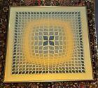 """1970s """"Quasar - 2"""" Op Art Silkscreen Print After Victor Vasarely, Framed"""