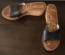 Sam Edelman Reid Black Leather Cork Platform Sandals Size 11