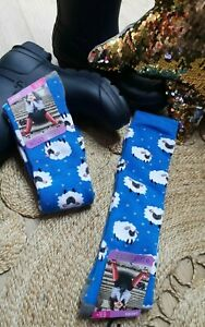 FUN NOVELTY BLUE SHEEP LONG WELLY BOOT SOCKS 1 Pair Warm Cosy Soft Size 4-7