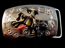 Bullrider belt buckle two tone