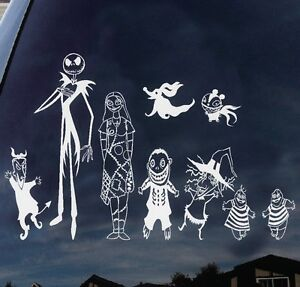 """Disney Nightmare Before Christmas Jack Skellington and family Decal sticker 11"""""""