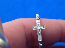 Crucifix Rosary Ring Ring Size 8 Bright Silver Tone Metal 1 Decade Prayer Ring