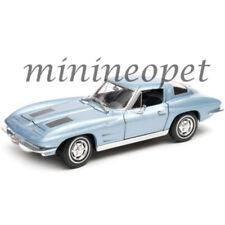 WELLY 24073 1963 CHEVROLET CORVETTE 1/24 DIECAST MODEL CAR LIGHT BLUE METALLIC