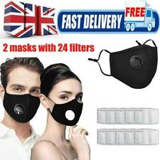 2 Masks with 24 Filters Washable Reusable Face Mask Pad Mouth Cover Protective