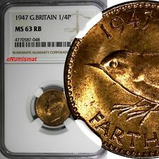 Great Britain George VI Bronze 1947 Farthing NGC MS63 RB KM# 843