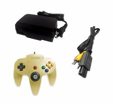 AC Adapter + Gold Controller + AV Cable Cord Bundle for Nintendo 64 N64