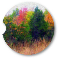 Oil Painted Style Autumn Trees Sandstone Car Coasters - Matching Pair